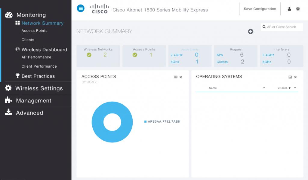 Interface graphique Cisco Mobility Express